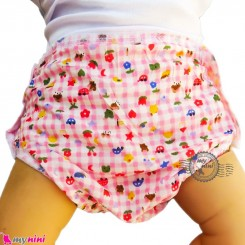 شورت دکمه ای ضد آب نوزاد و کودک 2 لایه چهارخانه طرحدار صورتی baby waterproof pants