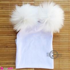 کلاه کشی پوم پوم نوزاد و کودک سفید baby cotton pom pom hat