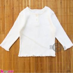 بلوز آستین بلند پنبه ای بچگانه شیری 6 تا 12 ماه Kids long sleeve shirt