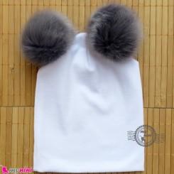 کلاه کشی سفید پوم پوم نوک مدادی نوزاد و کودک baby cotton pom pom hat