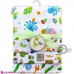خشک کن پنبه ای نوزاد و کودک 4 عددی برند فَشن بِیبی لاکپشت و هشت پا Fashion baby newborn blankets