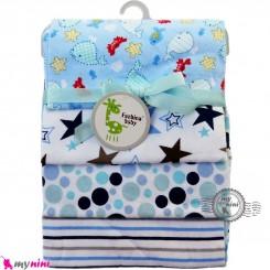 خشک کن پنبه ای نوزاد و کودک 4 عددی برند فَشن بِیبی دریایی Fashion baby newborn blankets