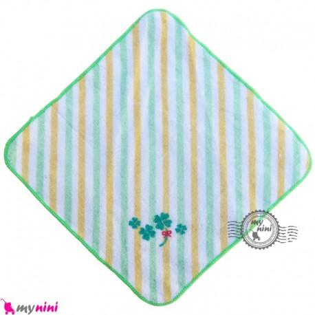 حوله دست و صورت نوزاد و کودک سبز راه راه برگ Baby washcloths