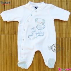 سرهمی گرم مخمل نوزاد و کودک مارک اورجینال بلوکیدز سفید آبی Blukids baby warm overalls