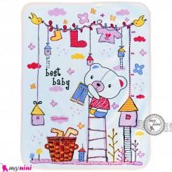 زیرانداز تعویض نوزاد دو رو حوله ای نایلونی صورتی طرح خرسی سایز بزرگ Newborn Mat