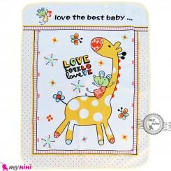 زیرانداز تعویض نوزاد دو رو حوله ای نایلونی زرد طرح زرافه سایز بزرگ Newborn Mat