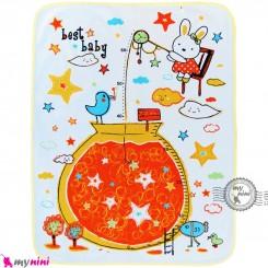 زیرانداز تعویض نوزاد دو رو حوله ای نایلونی زرد طرح خرگوش و ستاره سایز بزرگ Newborn Mat