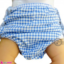 شورت دکمه ای ضد آب نوزاد و کودک 2 لایه چهارخانه آبی baby waterproof pants