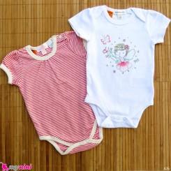 ست 2 عددی لباس زیردکمه دار کودک نخ پنبه 6 تا 12 ماه مارک baby bodysuits