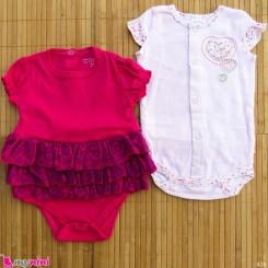 ست 2 عددی لباس زیردکمه دار کودک نخ پنبه 6 تا 9 ماه مارک baby bodysuits
