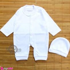 سرهمی و کلاه سفید نوزاد و کودک اعلاء Baby Sleepsuit
