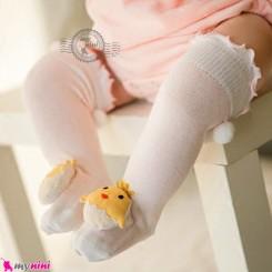 جوراب عروسکی ساق بلند پنبه ای مارک جی جی اس کیدز صورتی جوجه GGS Kids style socks