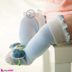 جوراب عروسکی ساق بلند پنبه ای مارک جی جی اس کیدز آبی جوجه تیغی GGS Kids style socks