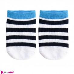 جوراب مچی نوزاد و کودک پنبه ای بدو تولد تا یکسال راه راه سفید مشکی baby cute socks سیسمونی