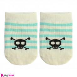 جوراب مچی نوزاد و کودک پنبه ای بدو تولد تا یکسال راه راه سبز کِرِم baby cute socks سیسمونی