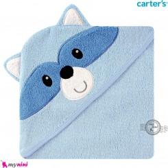 حوله نوزاد و کودک کلاه دار مارک کارترز آبی راکون Carter's hooded towel