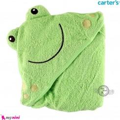 حوله کلاه دار نوزاد و کودک مارک کارترز سبز قورباغه Carter's hooded towel