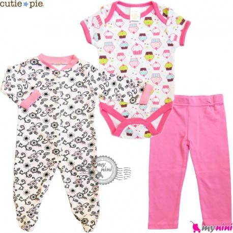ست لباس نوزاد و کودک نخ پنبه 3 تکه مارک کیوتی پای طرح کاپ کیک Cutie Pie baby clothes