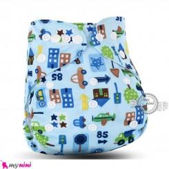 شورت آموزشی نوزاد و کودک 3 لایه آبی ماشین مارک کارته بِی بی carte baby reusable diaper