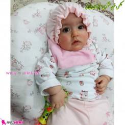 کلاه پرنسسی پنبه ای صورتی جونیورز Juniors newborn pink cotton hat
