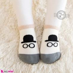 جوراب نوزاد و کودک کف استپ دار پنبه ای مارک چیچی اند کُوکُو کلاه و عینک cici & coco baby cute socks