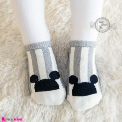 جوراب نوزاد و کودک کف استپ دار پنبه ای مارک چیچی اند کوکو راه راه طوسی میکی موس cici & coco baby cute socks