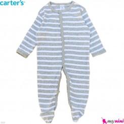 سرهمی نوزاد و کودک پنبه ای مارک کارترز 9 ماه طوسی راه راه Carter's baby bodysuit