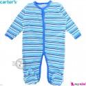 سرهمی نوزاد و کودک پنبه ای مارک کارترز 12 ماه آبی راه راه Carter's baby bodysuit