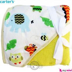 پتو کلاه دار کارترز فیل و زرافه پرز زرد Carters baby hooded fleece blanket