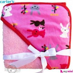 پتو کلاه دار کارترز صورتی خرگوش Carters baby hooded fleece blanket