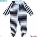 سرهمی نوزاد و کودک پنبه ای مارک کارترز 9 ماه سفید مشکی راه راه Carter's baby bodysuit
