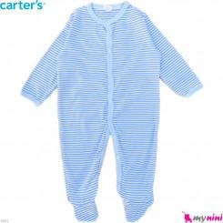 سرهمی کارترز پنبه ای نوزاد و کودک آبی راه راه 9 ماه Carter's baby bodysuit