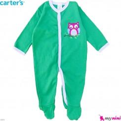 سرهمی کارترز پنبه ای نوزاد و کودک سبز جغد 6 ماه Carter's baby bodysuit