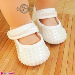پاپوش نوزاد و کودک مرواریدی شیری Baby born footwear