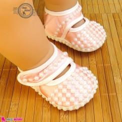 پاپوش نوزاد و کودک مرواریدی صورتی یخی Baby born footwear