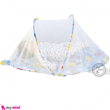 پشه بند تشک دار نوزاد و کودک مارک اسپرینگ آبی باب اسفنجی Espring Baby mosquito net