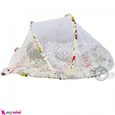پشه بند تشک دار نوزاد و کودک مارک اسپرینگ سگ کارتونی رنگ کرم  Espring Baby mosquito net