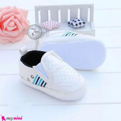 کفش نوزاد و کودک اسپرت سفید استپ دار Baby footwear