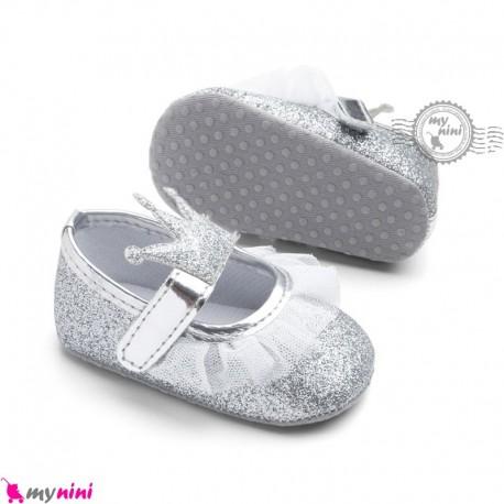 کفش نوزاد و کودک دخترانه تاج نقره ای Baby girl footwear