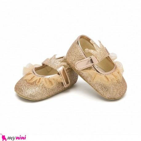 کفش نوزاد و کودک دخترانه تاج طلایی Baby girl footwear