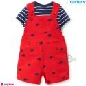 ست لباس کارترز اورجینال پسرانه نخ پنبه ای قرمز نهنگ 2 تکه Carter's baby boy clothes set