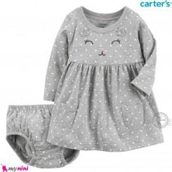 ست پیراهن و شورت کارترز اورجینال نخ پنبه ای 2 تکه دخترانه طوسی خالدار گربه Carter's baby girl clothes set