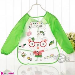 پیشبند لباسی بچه گانه ضدآب سبز خرس baby waterproof clothing bibs with sleeves