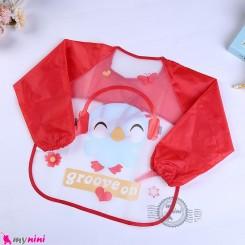پیشبند لباسی بچه گانه ضدآب قرمز پرنده baby waterproof clothing bibs with sleeves