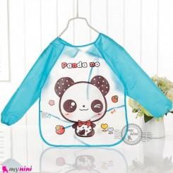 پیشبند لباسی بچه گانه ضدآب آبی پاندا baby waterproof clothing bibs with sleeves