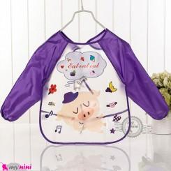 پیشبند لباسی بچه گانه ضدآب بنفش خوک baby waterproof clothing bibs with sleeves