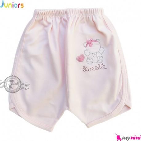 شلوارک نوزاد و کودک نخ پنبه ای مارک جونیورز صورتی Juniors pink baby short pants
