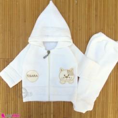 ست سویشرت و شلوار نوزاد و کودک بافتنی رنگ شیری گربه baby warm clothes set