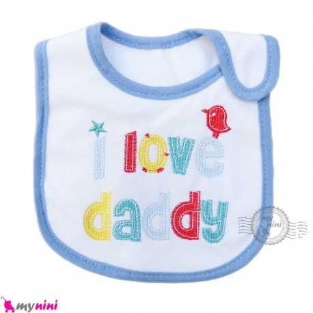 پیشبند نوزاد و کودک نخی آبی آی لاو سه لایه baby cotton Bib