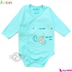 بادی بلند جلو دکمه دار نوزاد نخ پنبه ای آبی جونیورز Juniors blue kids clothes
